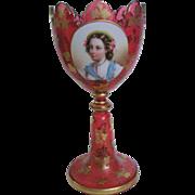 Antique Moser Cranberry Glass Portrait Chalice Circa 1850