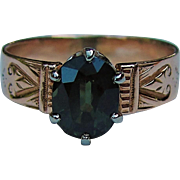 Antique Victorian 14K Green Tourmaline Ring Circa 1870