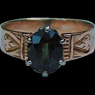Antique Victorian 14K Green Tourmaline Ring Circa 1870