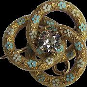 Antique Edwardian 14K Diamond Enamel Brooch Pendant Circa 1910 1.25ct.