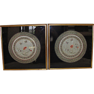 Pair Antique Chinese Embroidered Panels Framed 19th Century