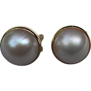 Vintage 14K Gold Mabe Pearl Earrings 1980's