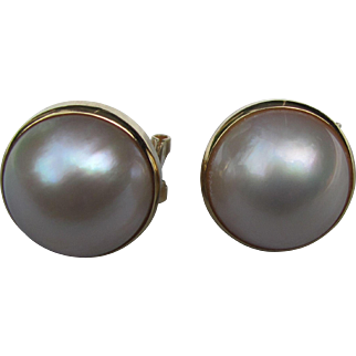 Vintage 14K Gold Mabe Pearl Earrings 1980's