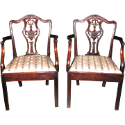 Pair of English Georgian Mahogany Chippendale Arm Chairs Circa 1785