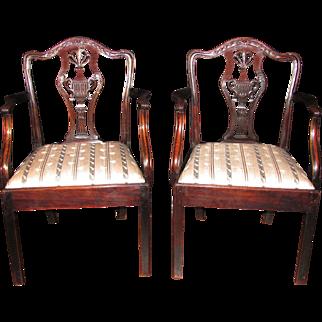 Pair of English Georgian Mahogany Chippendale Arm Chairs Circa 1785