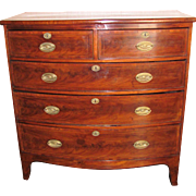 Antique English Georgian Mahogany Bowfront Chest of Drawers Circa 1810