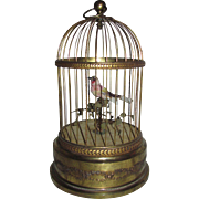 Antique French Automaton Singing Bird in Cage Circa 1910