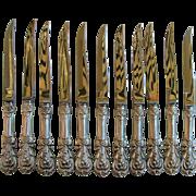11 Reed & Barton Sterling Silver Steak Knives Francis I