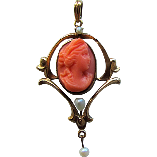 Antique Edwardian 10K Coral Cameo and Pearl Pendant Circa 1910