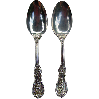 """2 Reed & Barton Sterling Silver Serving Spoons Francis I  8 3/8"""""""