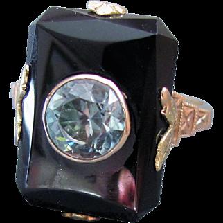 Art Deco !0k Gold Blue Zircon Onyx Ring Circa 1930
