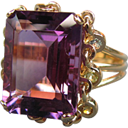 Vintage 14K Amethyst Ring With Multi-Gemstone Dangles