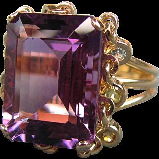 Vintage 14K Amethyst Ring With Multi-Gemstone Dangles