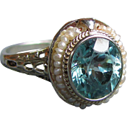 Antique 18K Filigree Blue Zircon and Seed Pearl Ring Circa 1930