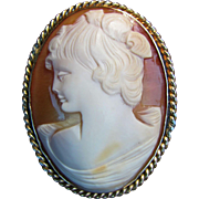 Antique 14K Shell Cameo Brooch Circa 1925