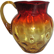 "Antique American Amberina Art Glass Pitcher 7"" Mt Washington/NewEngland 1885"
