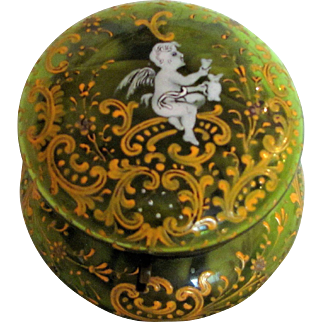Moser Type Green Art Glass Jewelry Trinket Box Circa 1900