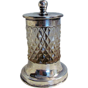 Antique English Sterling Silver Cut Glass Pepper Mill 1913