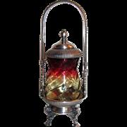 Antique Amberina Glass Pickle Castor Circa 1875 Silverplate Stand
