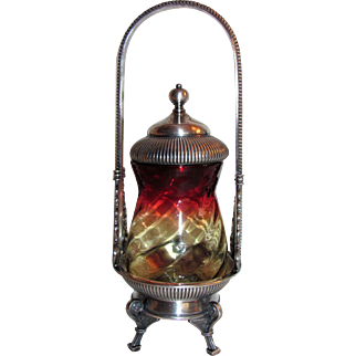 Antique Amberina Glass Pickle Caster Circa 1875 Silverplate Stand