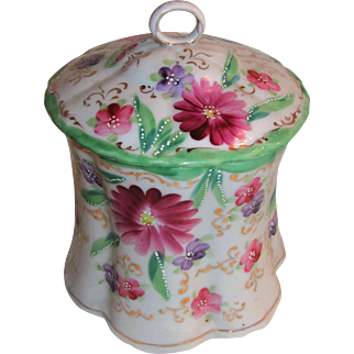 Antique Hand Painted Porcelain Biscuit Jar Circa 1900