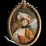 Antique Portrait Miniature Bronze Frame Circa 1900