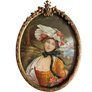Antique Portrait Miniature Bronze Frame Circa 1900