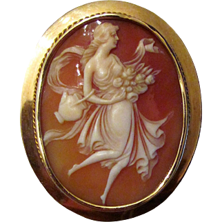 Antique Edwadian 14K Shell Cameo Brooch Pendant Circa 1910