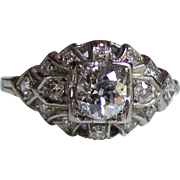 Antique 18K White Gold Diamond Ring Circa 1920 .62cts.