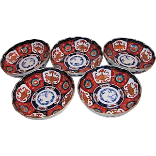 Set of 5 Antique Japanese Imari Bowls Meiji 19th Century