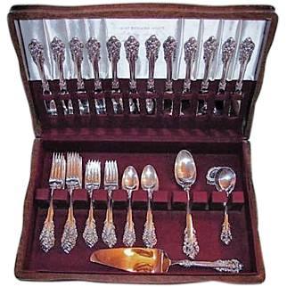 Wallace Grand Baroque Sterling Flatware Service for 12 with Serving Pieces