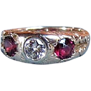 Antique Edwardian 14K Diamond Garnet Ring Circa 1915