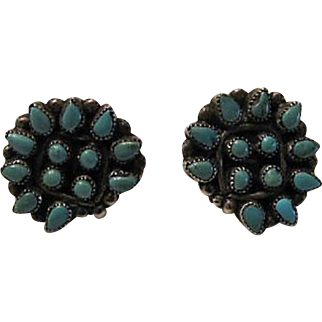 Vintage Sterling Turquoise Earrings Circa 1950
