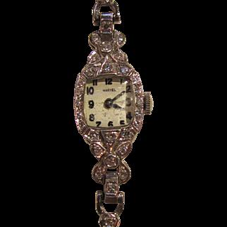 Vintage Platinum & 14K White Gold Diamond Wristwatch Circa 1950