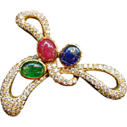 18K Gold Diamond Ruby Sapphire Emerald Brooch Circa 1970