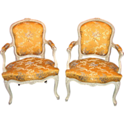 Pair Antique French Louis XV Painted Fauteuils Circa 1800