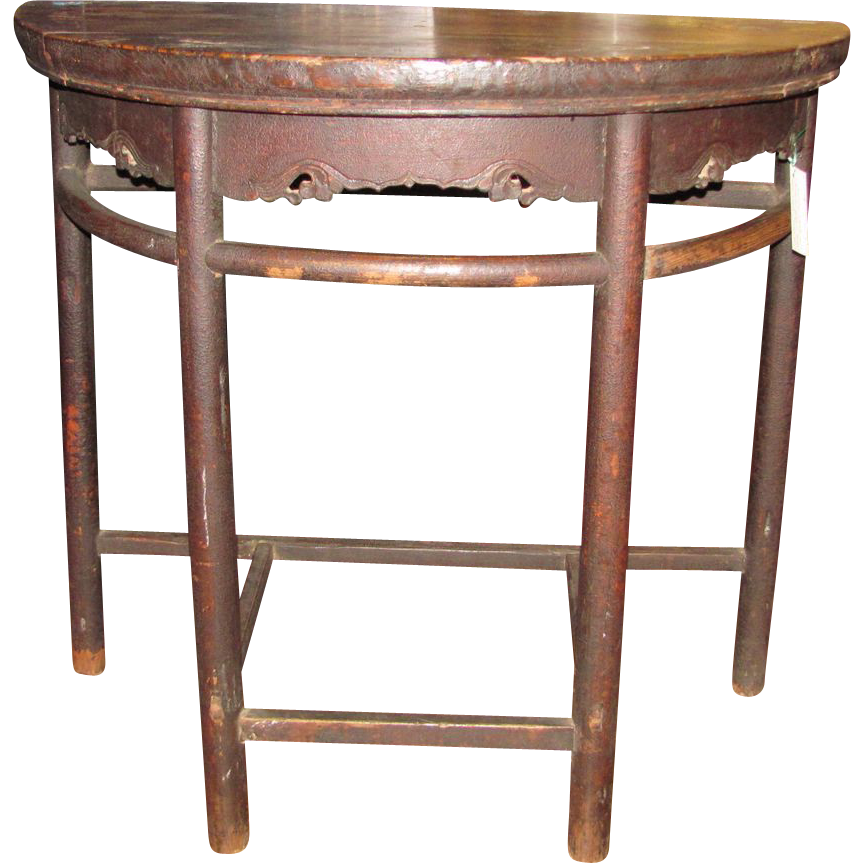 Antique Chinese Elm Side Table Original Finish 18th Century