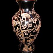 Rare Monumental Pair Antique Chinese Lacquered Vases Circa 1900
