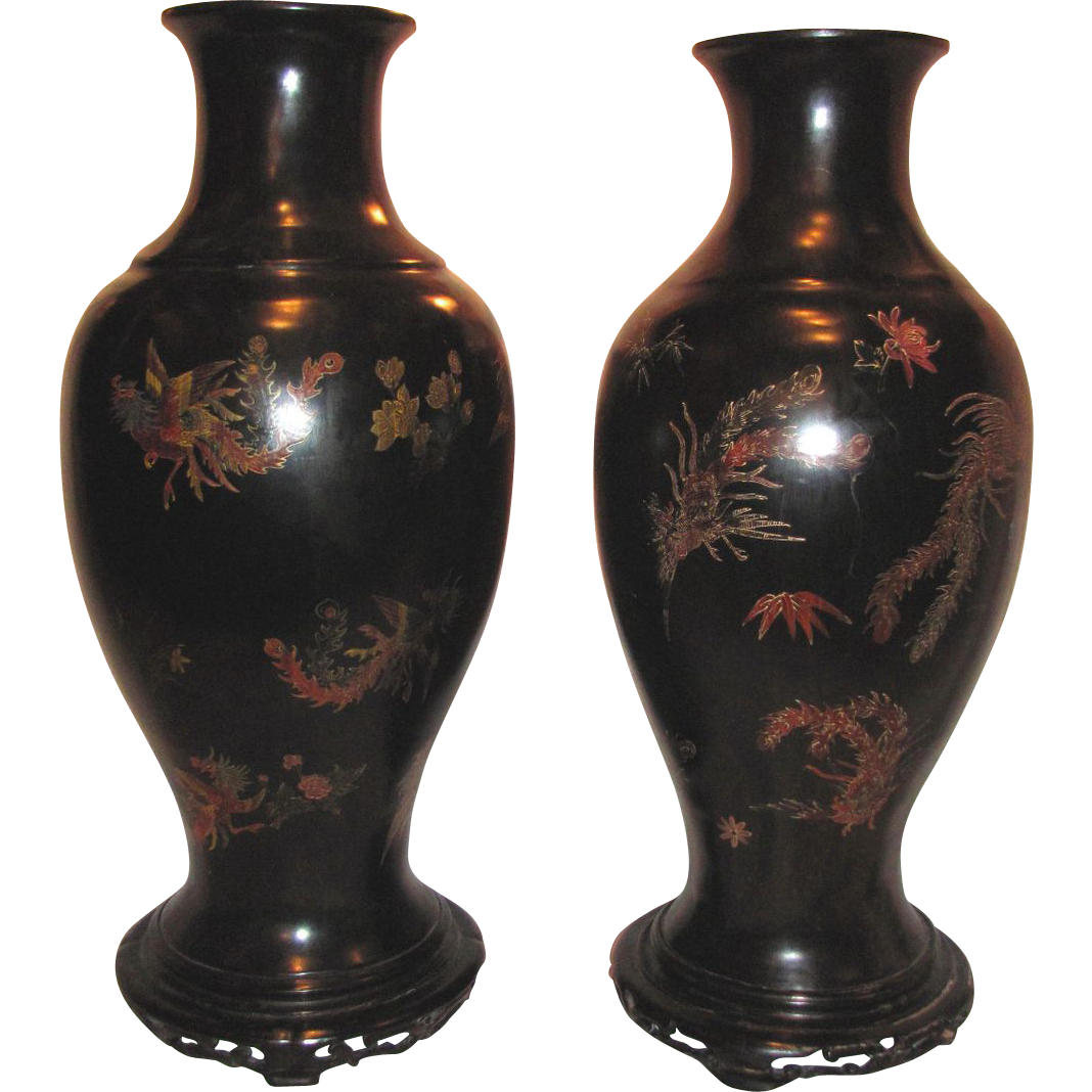 Pair Large Antique Chinese Lacquered Vases 19th Century