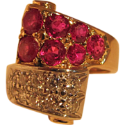 Vintage Retro Modern Ruby Diamond Ring 14K 1940's
