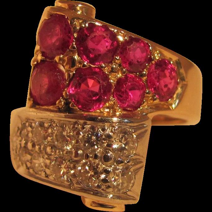 Vintage Retro Modern Ruby Diamond Ring 14K 1940's