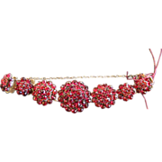 Antique Victorian Garnet Bracelet in Silver Circa 1860