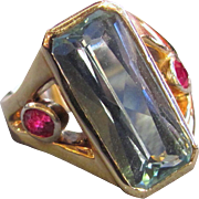 Modern Custom Made 14K Aquamarine and Ruby Ring