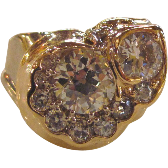Custom Hand Made 14K Diamond Ring 1980's 2.80cts.