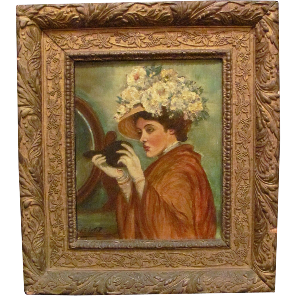 Antique Oil on Canvas Painting Circa 1910 Signed