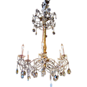 Antique Italian 6 Light Crystal Chandelier 18th Century