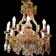 Vintage Italian 9 Light Crystal Chandelier Circa 1920