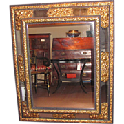 Large Antique Dutch Ebony and Brass Repousse Wall Mirror 17th Century