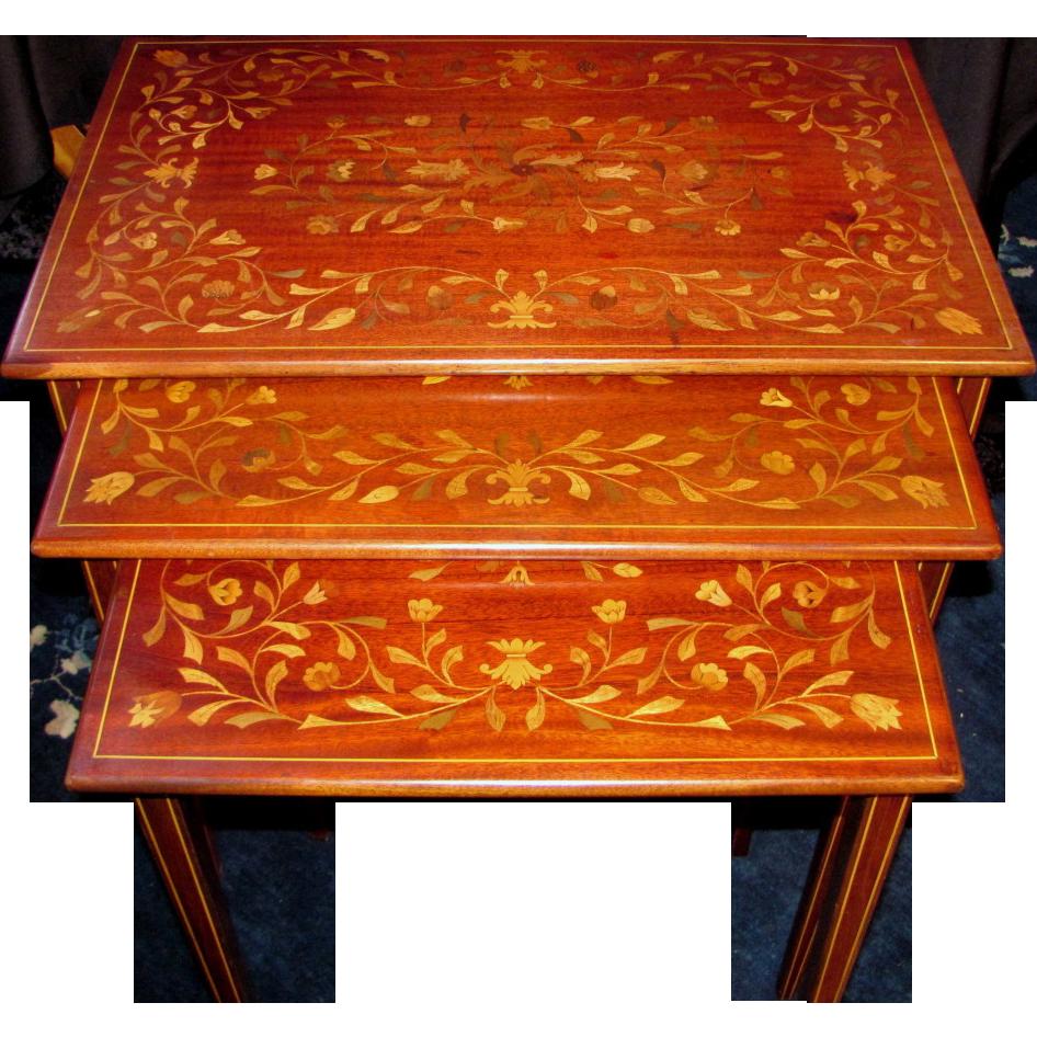 Antique Italian Mahogany Inlaid Nested Tables Circa 1900