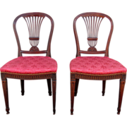 Pair of Antique English George III Mahogany Side Chairs Circa 1810